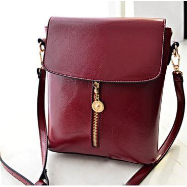 USD8.99Fashion Woman Solid Zipper Rose Wine Red PU Shoulder Bag