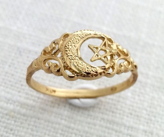 Vintage 1950s 10k Solid Gold Crescent Moon And Star Ring Moon And Star Ring Star Ring Solid Gold