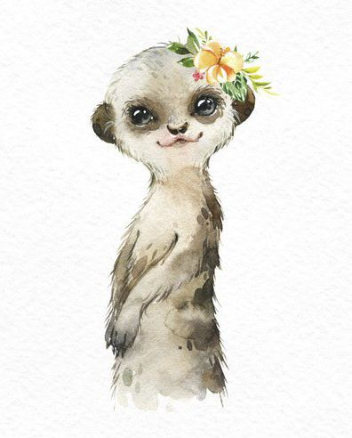 Africa Hippo Cheetah Meerkat acuarela pequeños animales clipart, suricate, bebés retrato, corona, flores, niños, arte de la guardería, baby-shower
