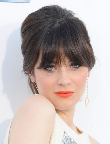 backcombed updo with bangs