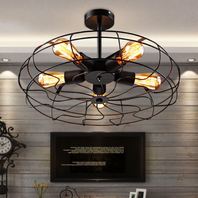 Industrial Vintage Metal Fan Pendant Lamp Steampunk Ceiling Chandelier  Light | Vintage Metal, Pendant Lamps And Ceilings