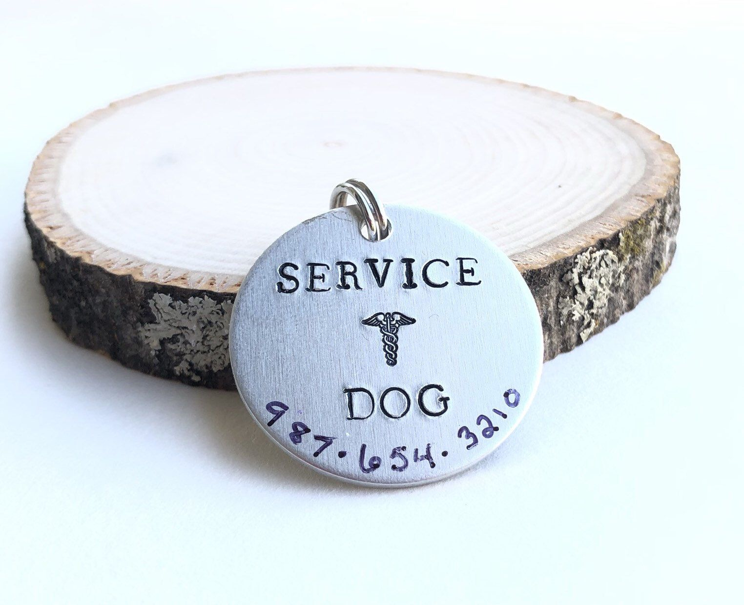 Large service dog ID tag for collar with phone number