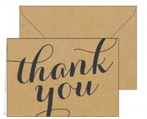 Thank You Card Kraft Script 15CT