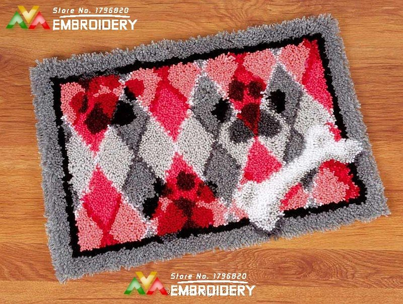 Hot Latch Hook Rug Kits Diy Needlework Unfinished Crocheting Yarn Cushion Mat Dog And Bone