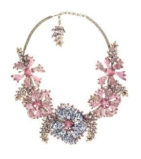 De Luxe Aloha Flower Statement Necklace af-5.5 aloha flower statement necklace pink-blue