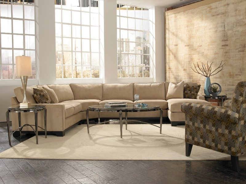 Look how the gorgeous rubato chaise sectional can easily - How to divide a living room into a bedroom ...