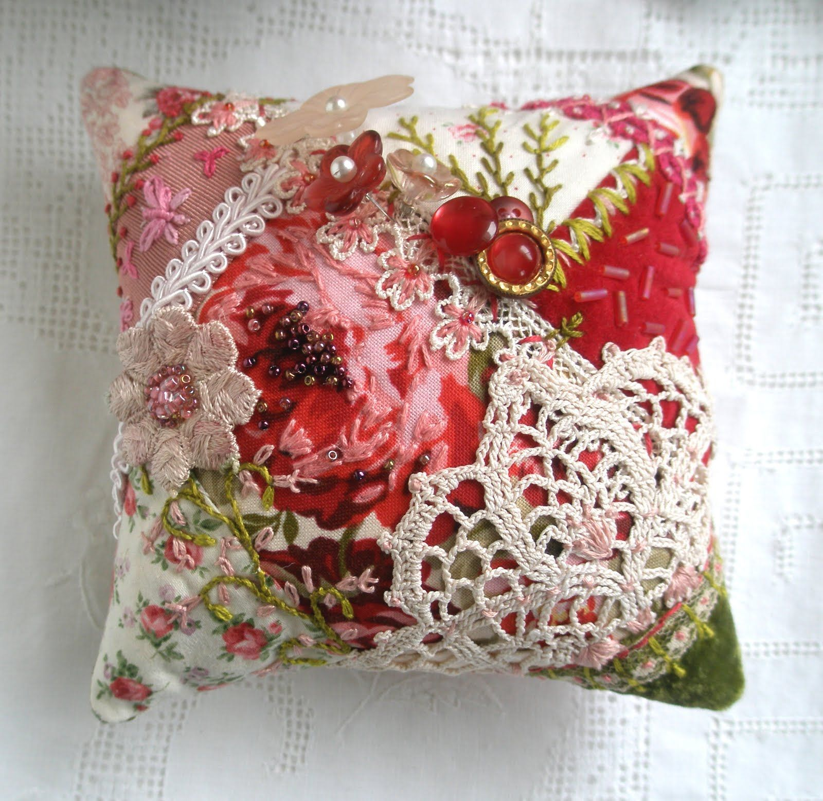 a fantastic idea!  small enough that i can complete a crazy quilt handmade item!  Crazy Quilt Pincushion