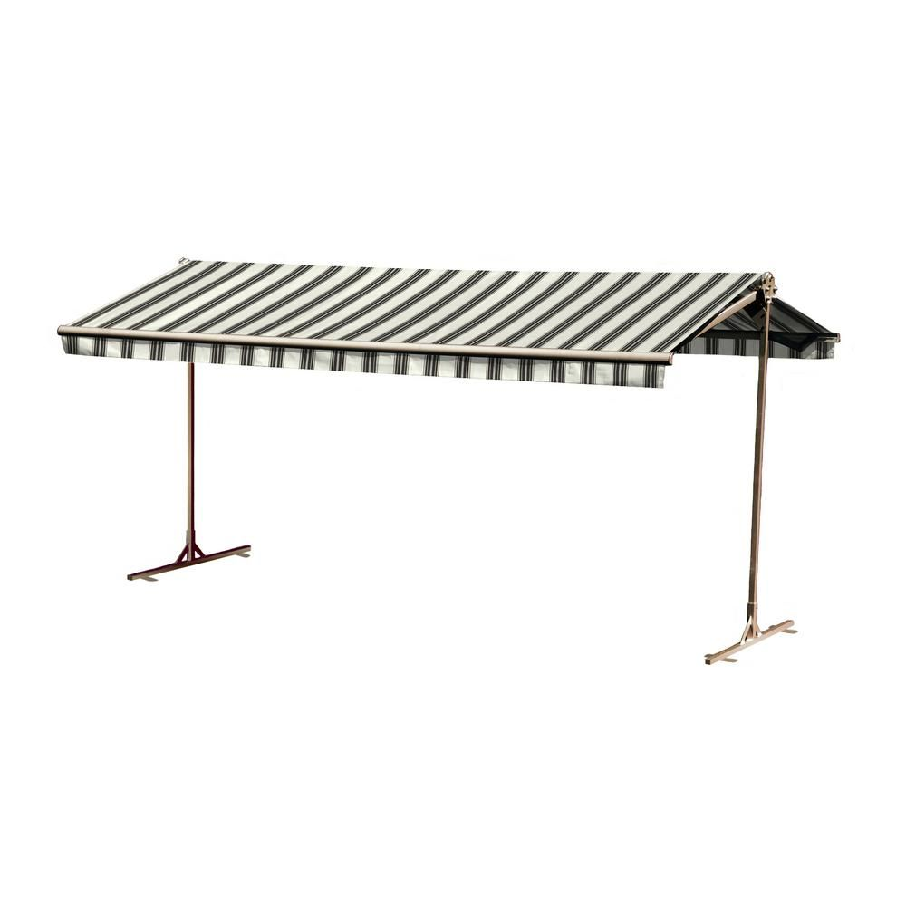 Bali Essentials 16 Ft Oasis Freestanding Motorized Retractable Awning 120 In Projection With Remote In Retractable Awning Awning Pergola Attached To House