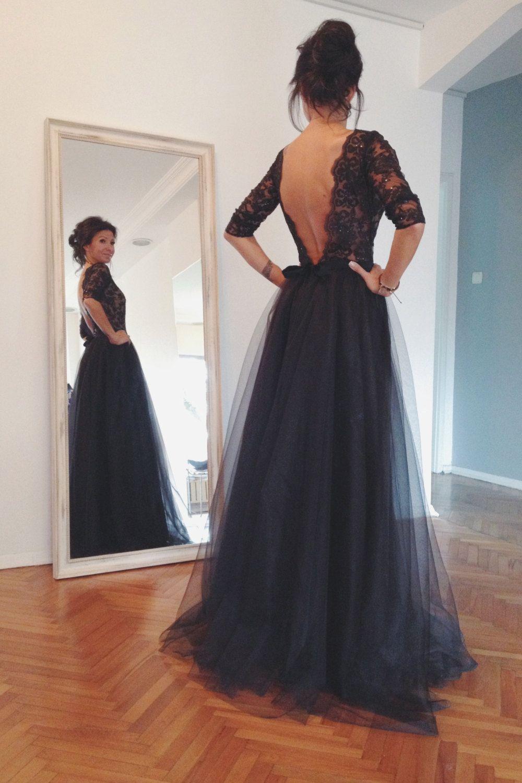 Maxi black open back lace evening gown tulle skirt por nelliuzun