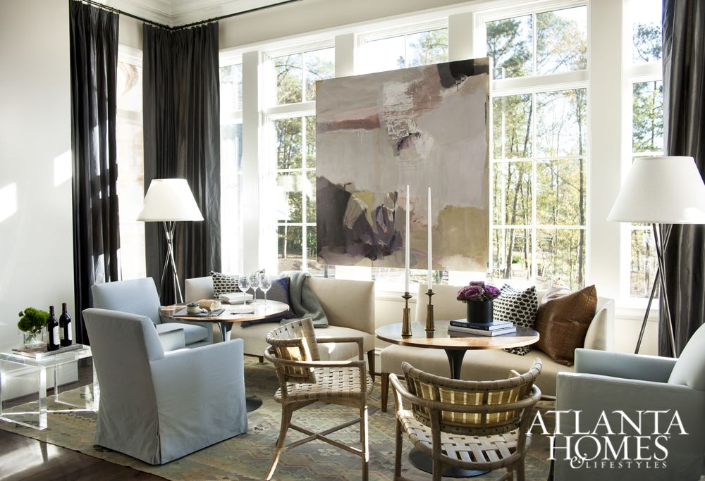 interior decorator atlanta family room. Designer Robert Brown Expertly Mixed Mid Century Tables And Woven Outdoor  Chairs With Upholstered Pieces From His Own Furniture Collection For A Look That\u0027s Interior Decorator Atlanta Family Room M