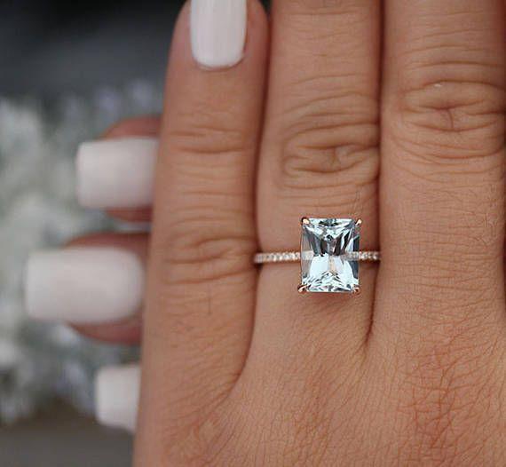 925 Sterling Silber Ring TwoTone Rose Gold Weiß Saphir über Diamant-Schmuck NEU