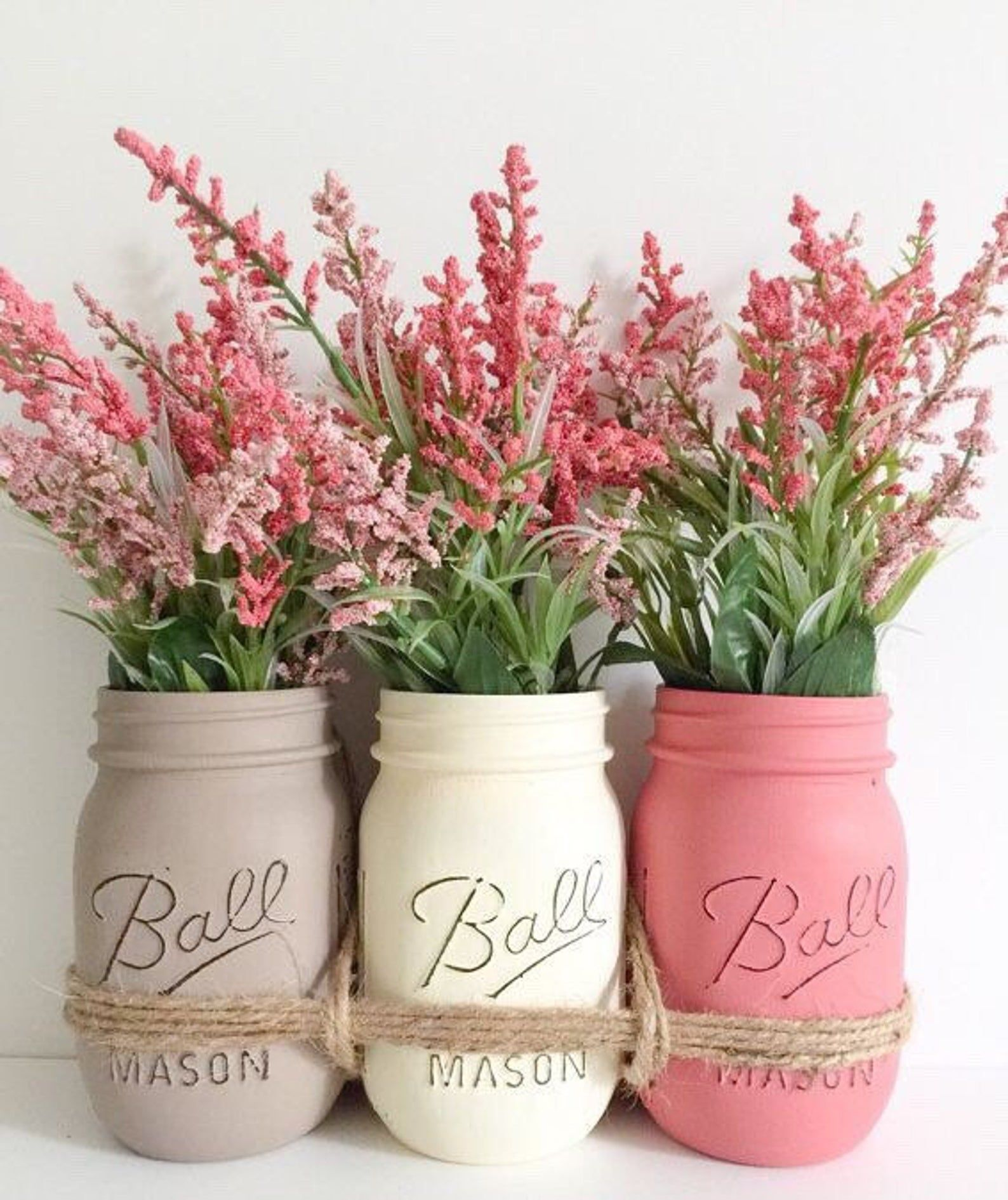 Mason Jars Centerpiece. Mothers Day Gift. Distressed Mason Jars. Wedding Centerpiece. Farmhouse Decor. Hand painted Mason Jars.