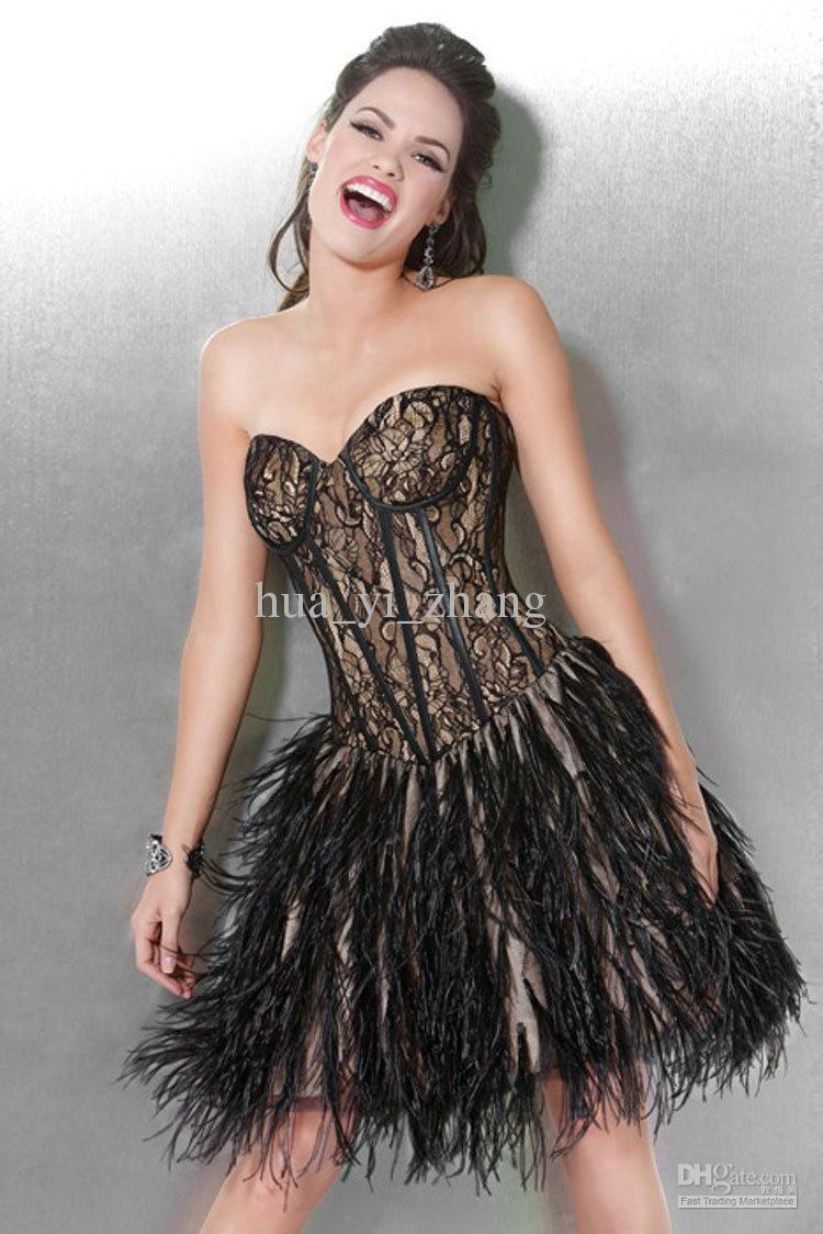 Ungewöhnlich Black Feather Cocktail Dress Fotos - Brautkleider Ideen ...
