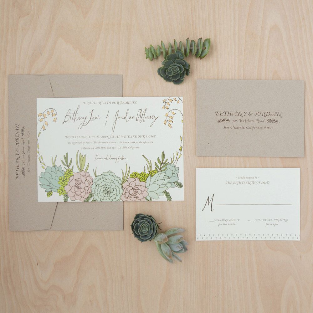 succulent wedding invitation bohemian wedding invitation garden