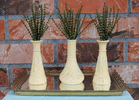 Set of 3 Painted Milk Glass Bud Vases  Light by TheSpeckledEgg2011, $15.75