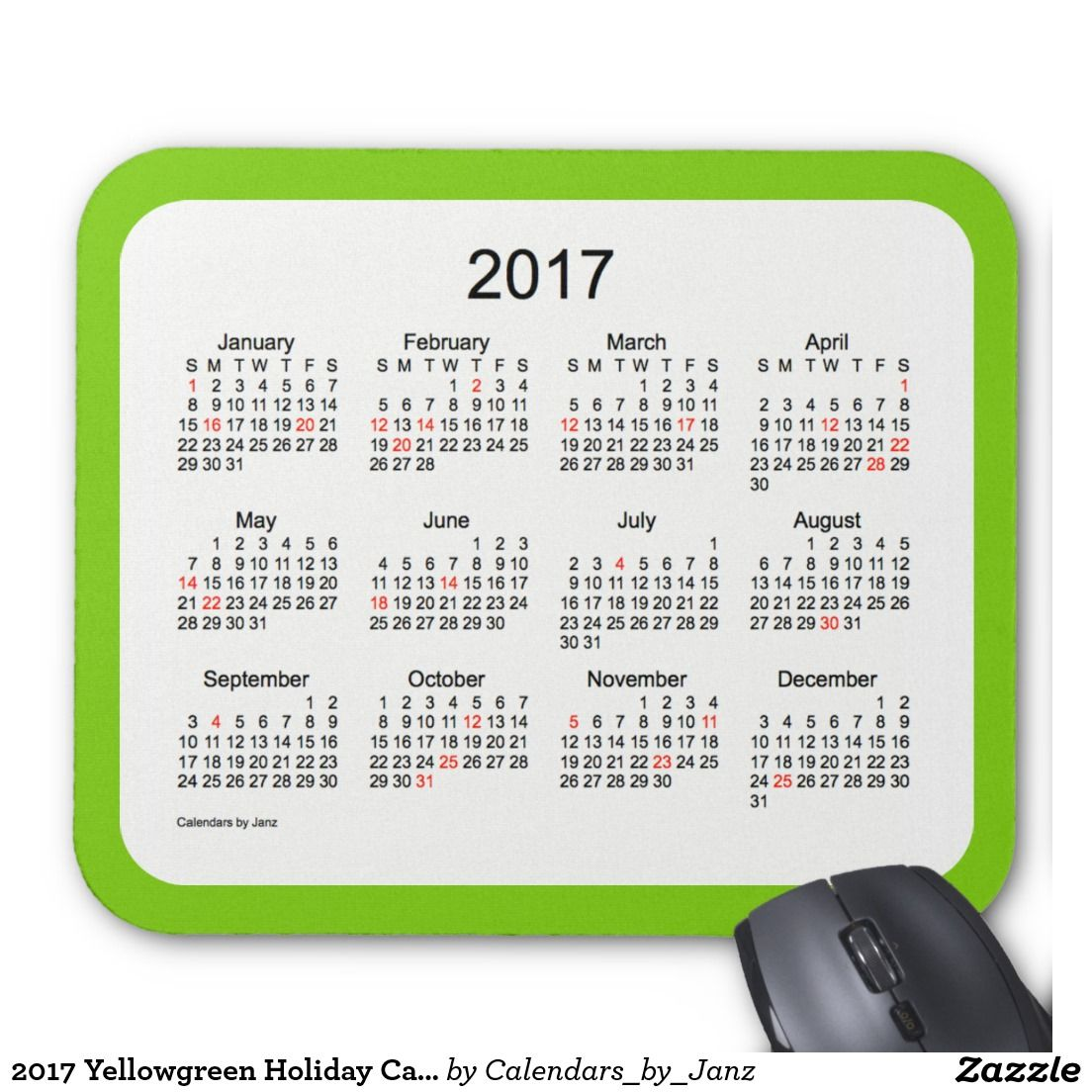 2017 Yellowgreen Holiday Calendar by Janz Mouse Pad