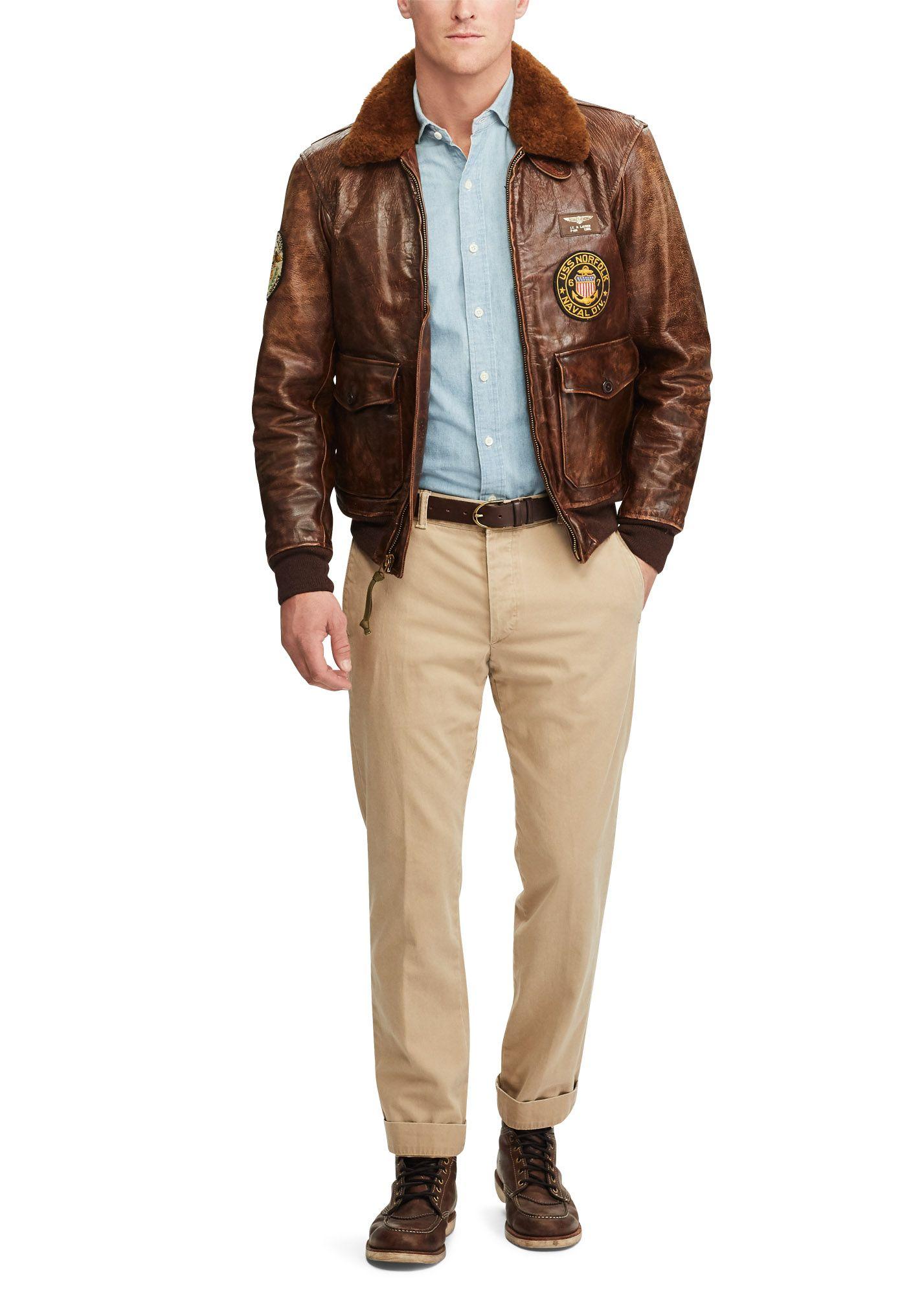 Polo Ralph Lauren The Iconic G 1 Bomber Jacket Leather Jacket Outfit Men Leather Jacket Men Bomber Jacket [ 2000 x 1427 Pixel ]