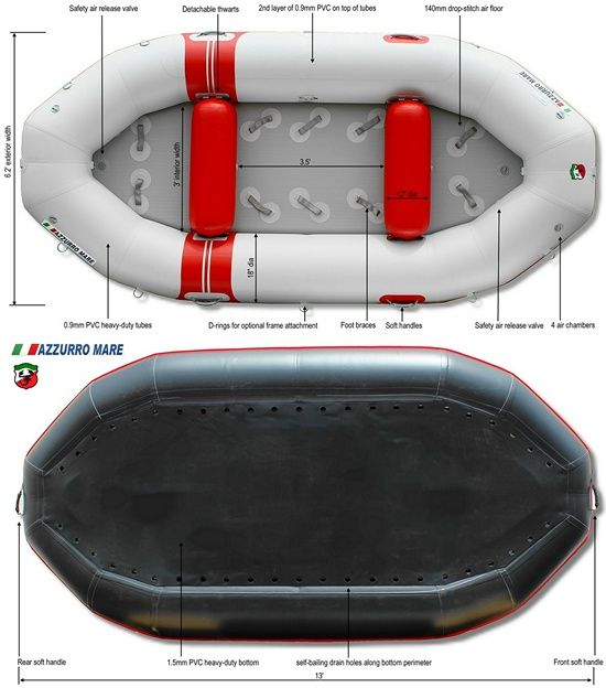 13' Whitewater Inflatable Rafts AMR385 | River Family | Rafting