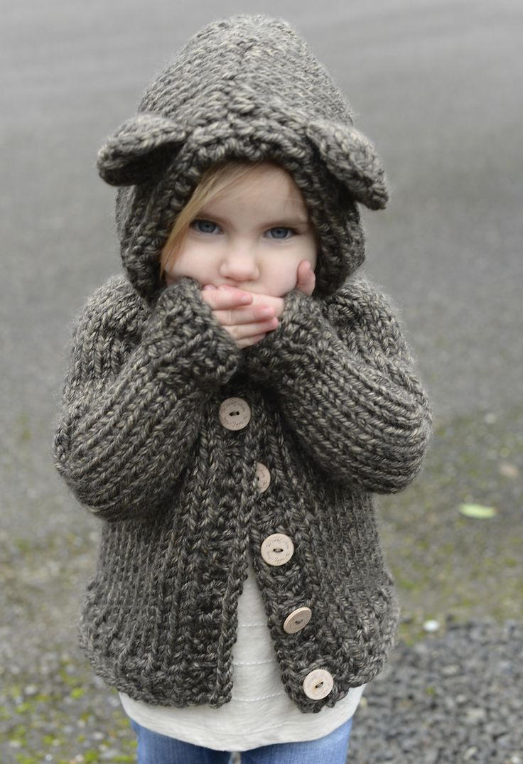Knitting Patterns for Baby Lion brand Knit this bear-y cute cardigan ...