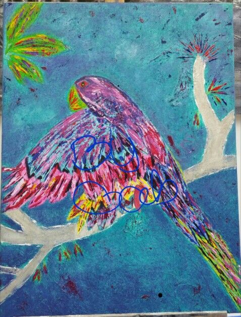 Parrot.  Acrylic, mixed media. By Gabriëlle Beens