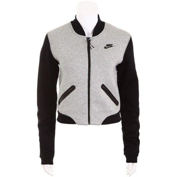 Nike Womens Tech Fleece Bomber Jacket 3mm Grey/black Medium (1,315 CNY) ❤