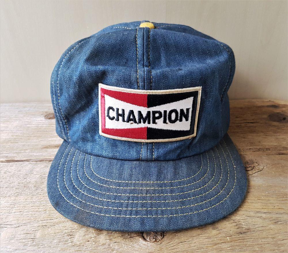 633a91182348c Vintage 1980s CHAMPION Spark Plugs Denim Snapback Trucker Hat Jean Cap  Canada  VictoryCaps  BaseballCap