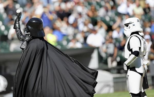 Darth Vader nails the first pitch at Star Wars Night with the White Sox on 9/8/12.