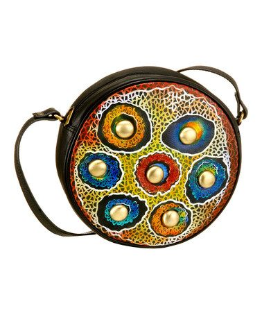 Take a look at this Red & Blue Button Hand-Painted Round Crossbody Bag by Biacci on #zulily today! $42 !!