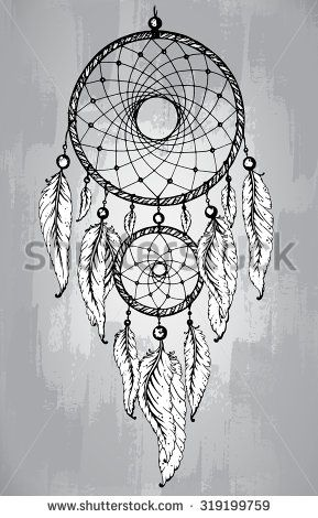 Double Dream Catcher Tattoo Dream catcher with feathers in line art style Hand drawn sketch 11