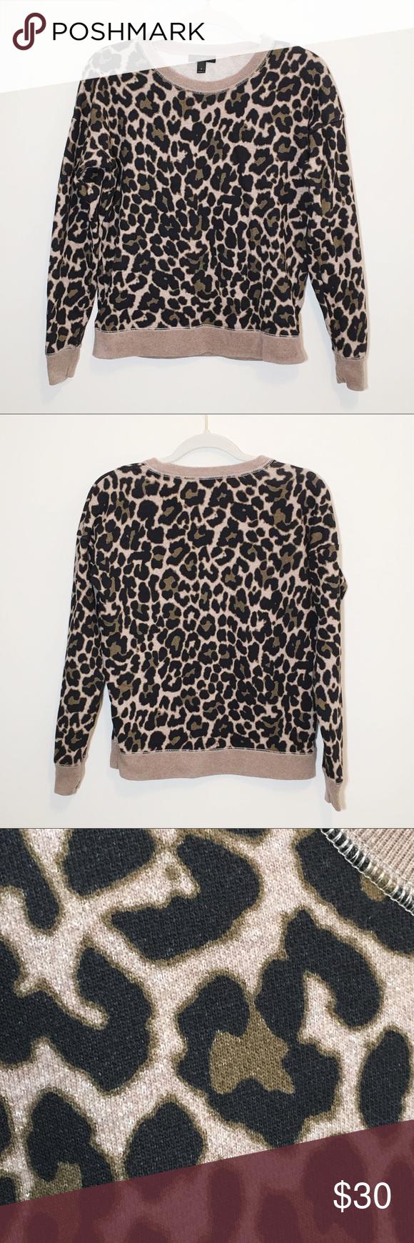 J Crew Leopard Print Crew Neck Sweatshirt S Crew Neck Sweatshirt Leopard Print Clothes Design [ 1740 x 580 Pixel ]