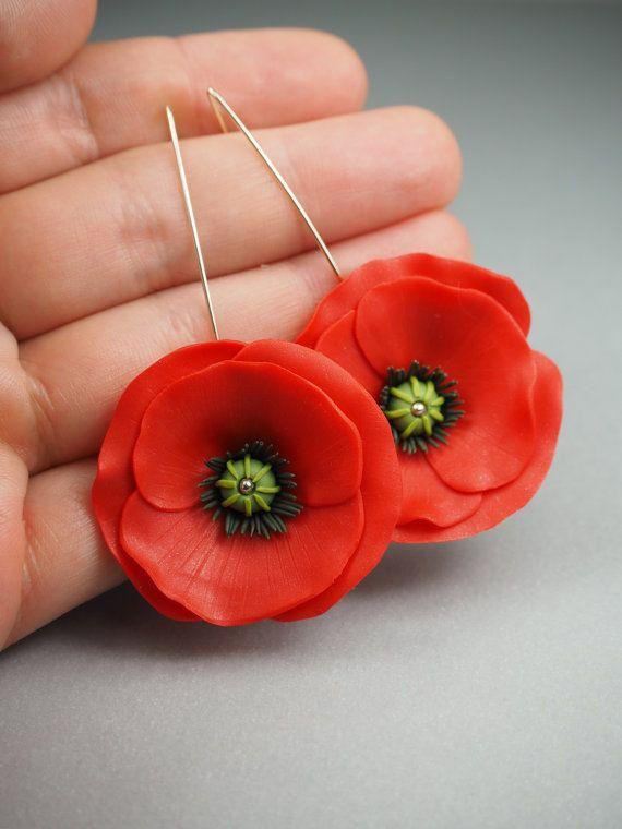 76ac47484 Big red poppy flower earrings, birthday gift for her, red girlfriend gift,  dangle