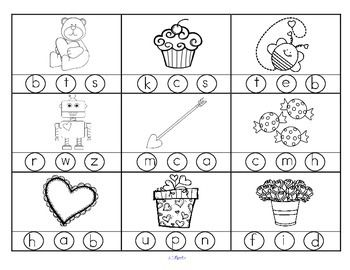 FREE VALENTINES DAY Beginning Sounds 2 printables with 18