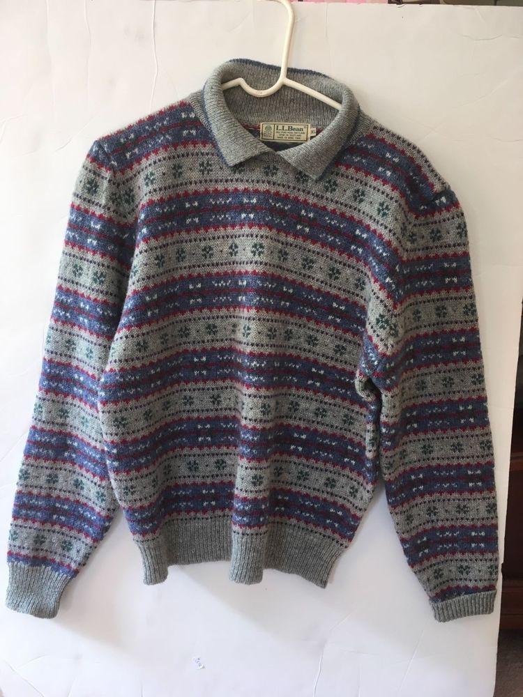 Details About Ll Bean Mens Sweater Shetland Wool Spun In Scotland