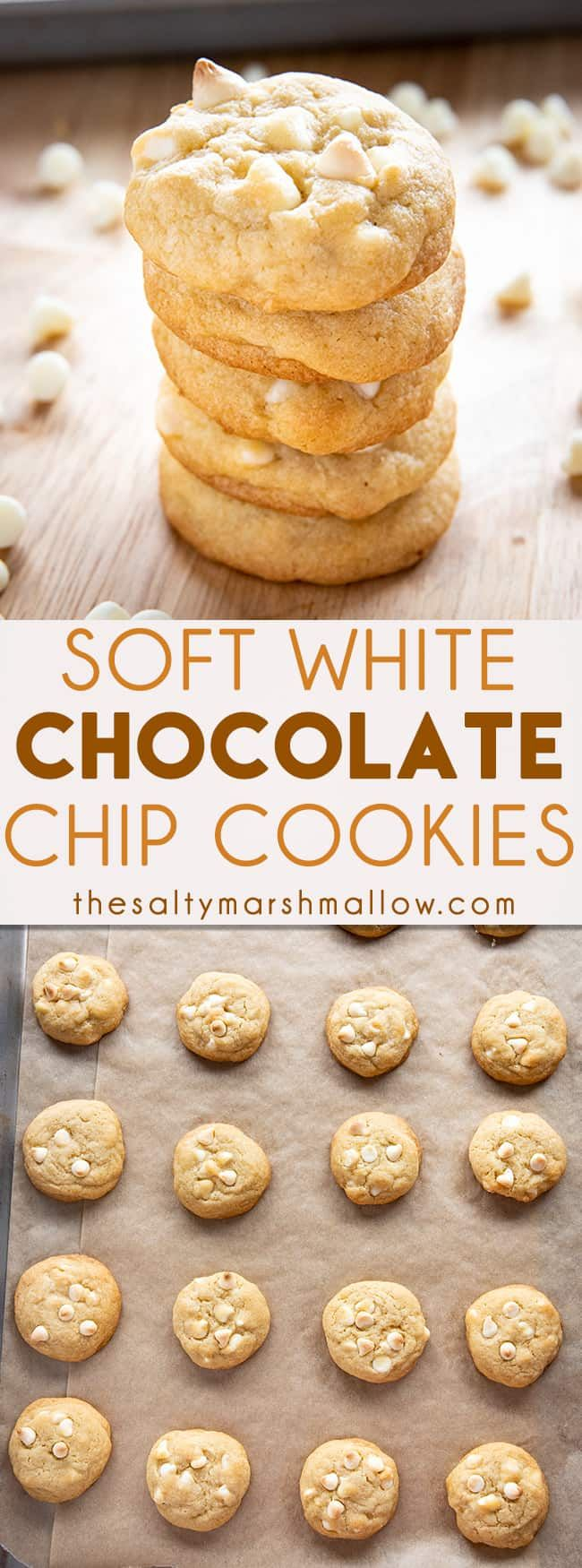 White Chocolate Chip Cookies White Chocolate Chip Cookies are soft, chewy, and packed full of white chocolate chips! These easy to make cookies are sure to become a family favorite!