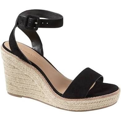 Banana Republic Womens Espadrille Wedge Sandal Suede Size 10