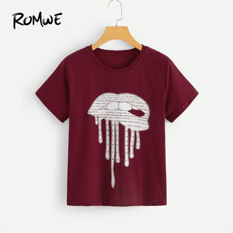 Camiseta Verano Labios Y Impresión Básica Romwe Carta Para Ropa OkwPX8n0