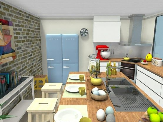 3D floor plan for Eat-in Spring kitchen designed in RoomSketcher Premium floor planner. Brick wall accents painted walls. Wrap around counters & large kitchen island with wet sink. KitchenAide Mixer, french press, tea pot, and Easter decor help you visualize your working space in 3D: http://planner.roomsketcher.com/?ctxt=rs_com