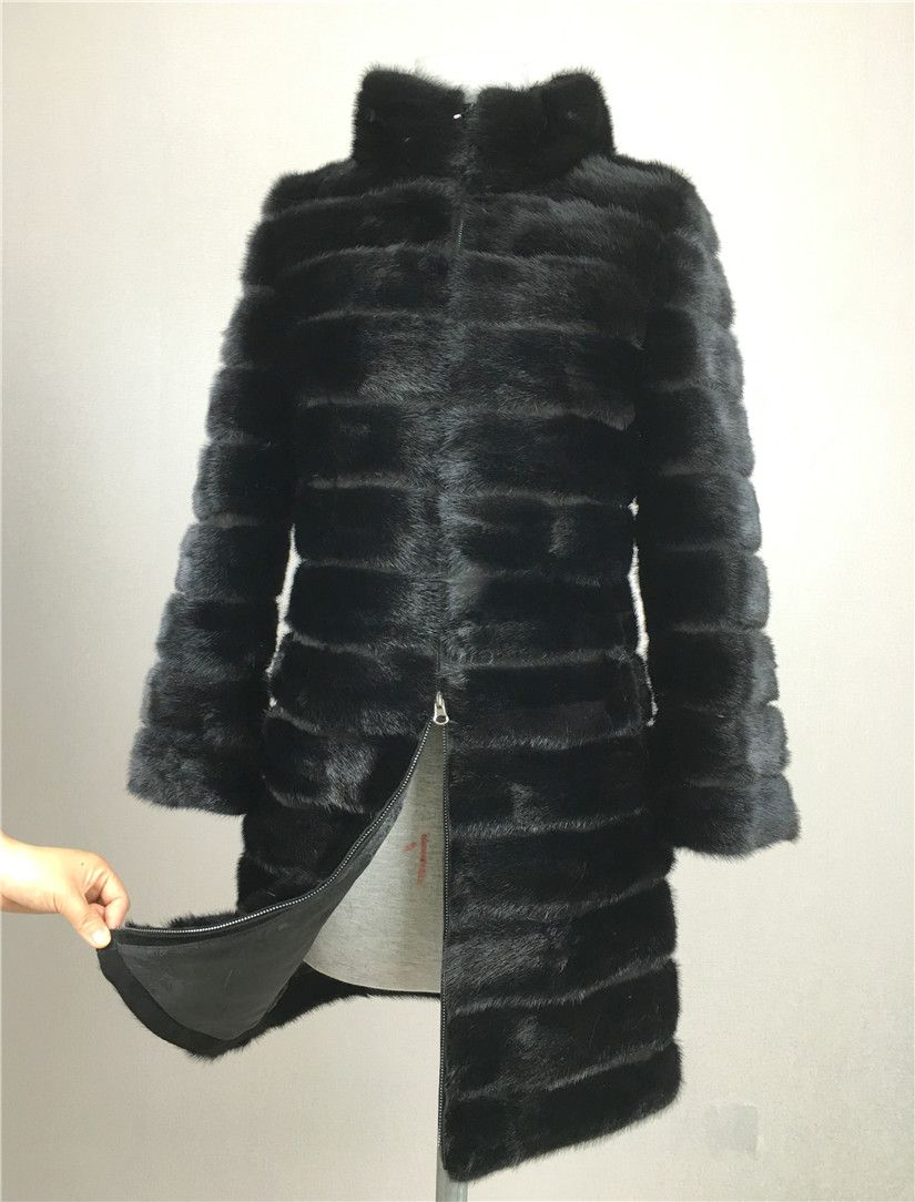 LIYAFUR 2017 Real Mink Fur Coat for Women Natural Genuine Russian Fur Coats  Luxury Black Color Customized Size 327f449107f9
