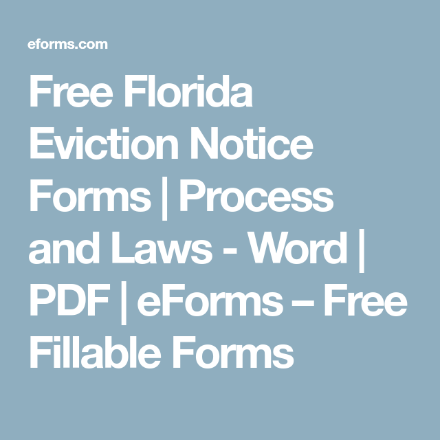 Free Florida Eviction Notice Forms  Process And Laws  Word  Pdf