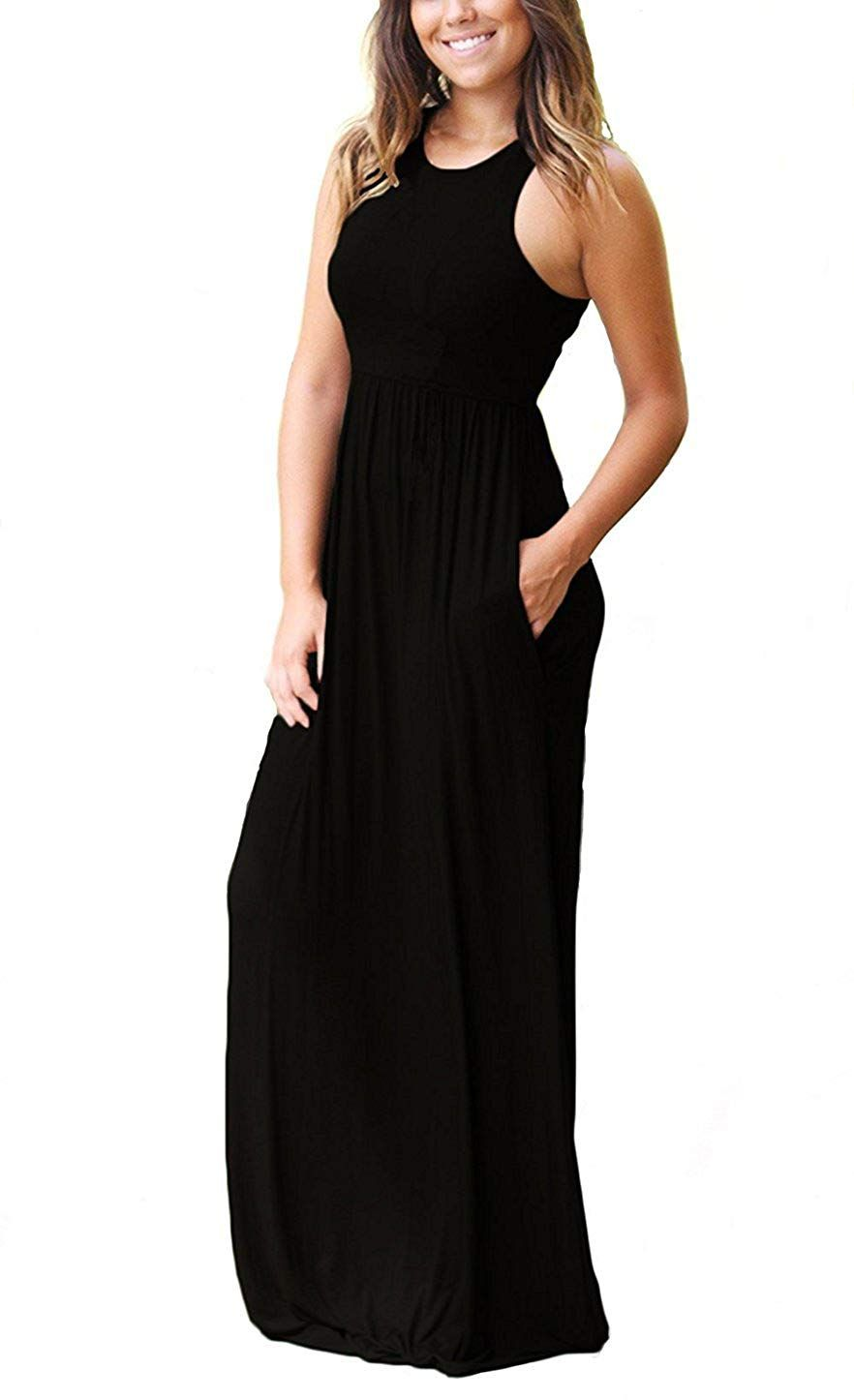 Women/'s Sleeveless Racerback Loose Plain Maxi Dresses