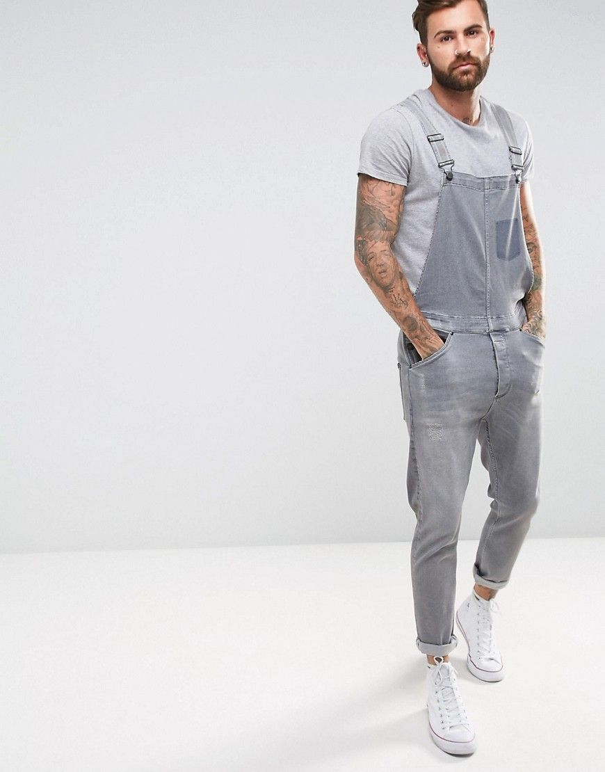 asos overall in gray wash with distressing gray mens on men s insulated coveralls cheap id=14663