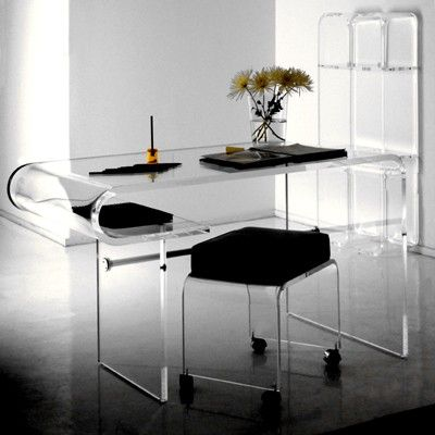 Curve Acrylic Desk Materials Clear Dimensions X Options This Piece Has Limited Custom Please Inquire