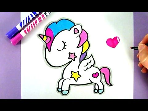Comment dessiner une licorne kawaii dessin kawaii facile - Dessin licorne kawaii ...