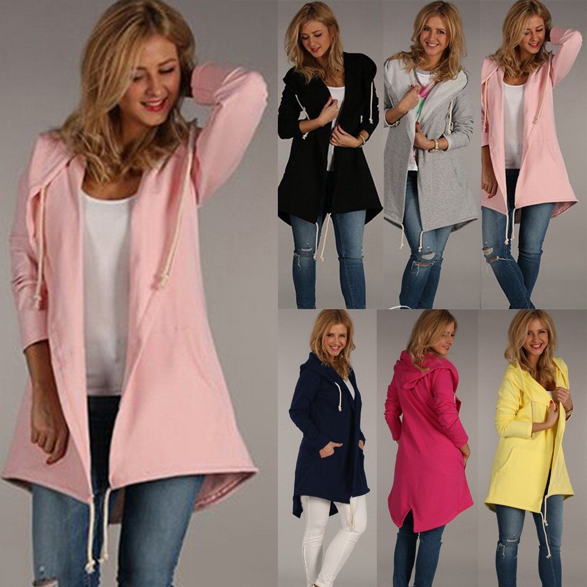 7b6d66e6fd40 Fashion Women Warm Hooded Long Coat Jacket Trench Windbreaker Parka Outwear  Tops