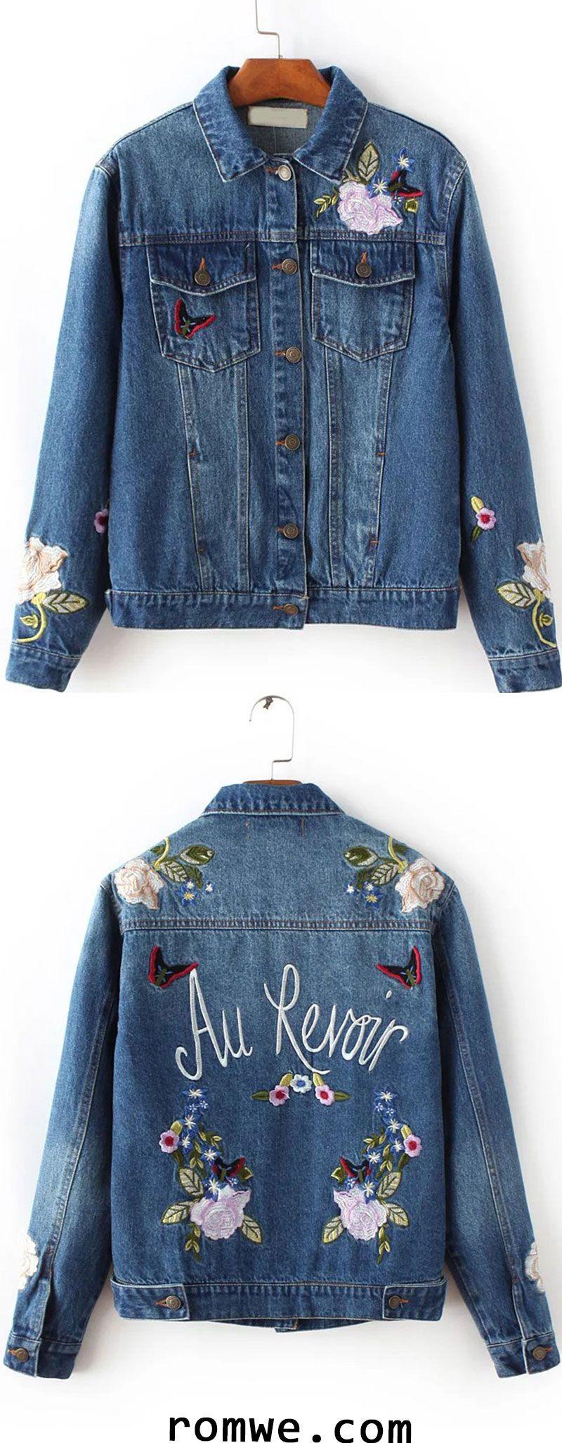 Blue Floral Embroidery Denim Jacket Diy Denim Jacket Denim Diy Denim Jacket Embroidery [ 2052 x 800 Pixel ]