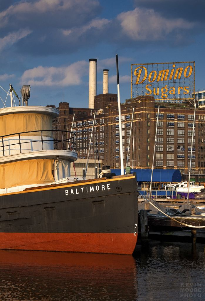 A view of the Domino Sugars sign from the Baltimore Museum of Industry. Photo by Kevin Moore.