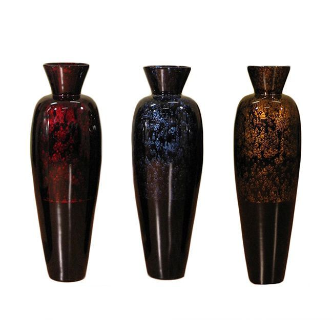 The Hand Crafted Tall 36 Inch Floor Vase Is A Gorgeous Addition To Any Decor With Color Accent At Top In Your Choice Of Red Dark Blue Burgundy