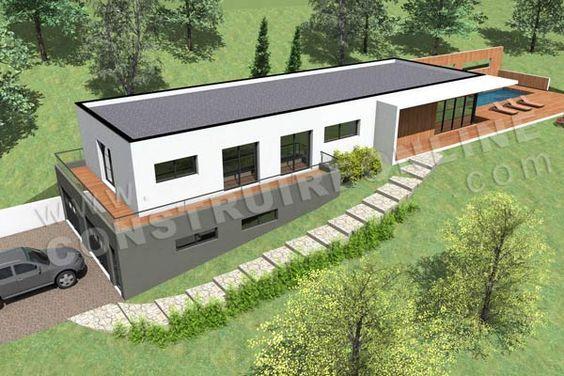 Plan de maison contemporaine terrain pente CARAVELLE vue dessus