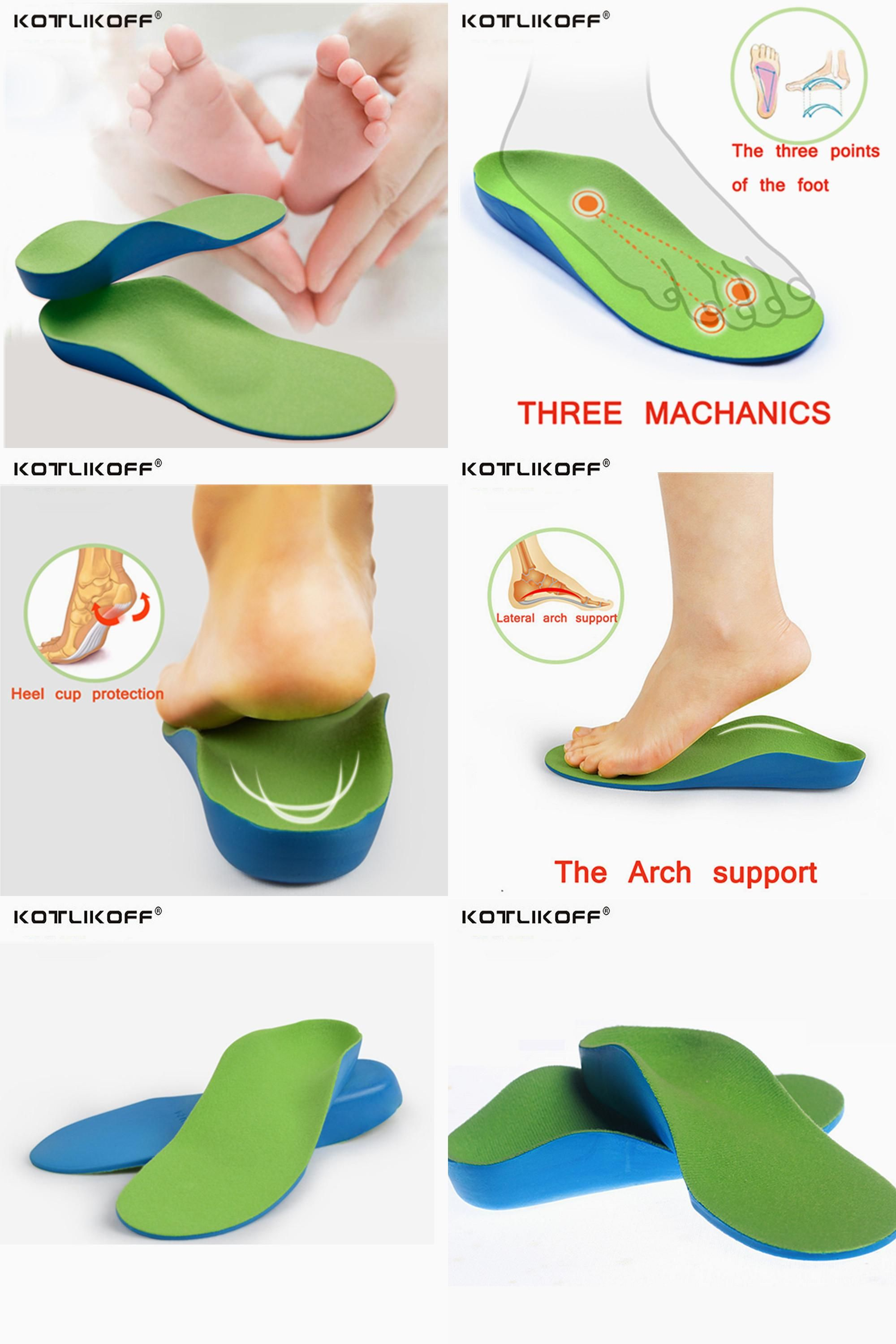 5 Pairs Kids Silicone Gel Insoles for Flat Feet Orthopedic Arch Support