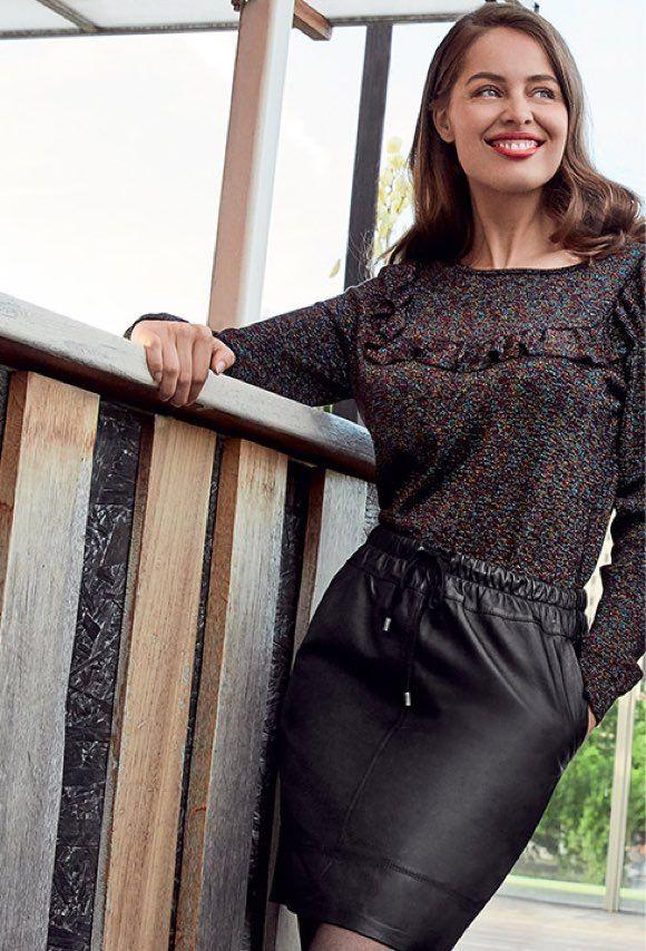 look automne hiver 2017 2018 jupe en cuir noire blouse m tallis e looks inspirations. Black Bedroom Furniture Sets. Home Design Ideas